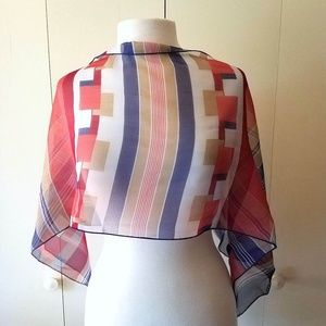 Vintage Geometric Red, Blue, Brown, White Scarf